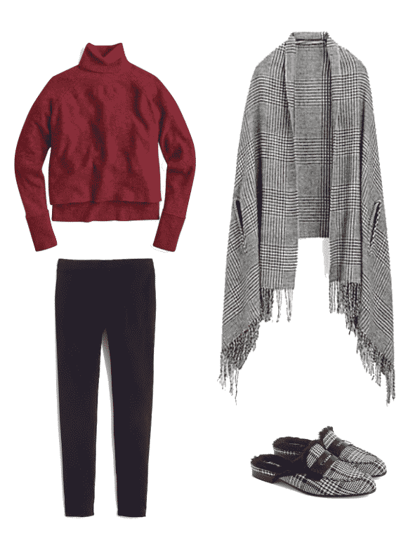 J Crew Turtleneck Sweater With Side Slits In Supersoft Yarn $79.50 / J Crew Cape Scarf In Glen Plaid $75 / J Crew Maddie Pant In Two-Way Stretch Cotton SALE 49.99 / Faux Fur Lined Academy Penny Loafer Mule In Glen Plaid $188