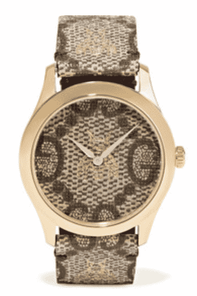 Gucci Printed Coated-Canvas And Gold-Tone Watch