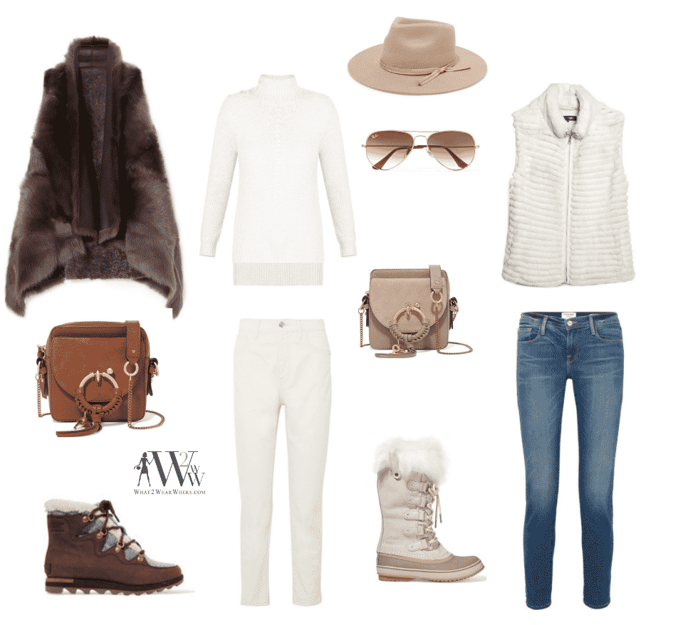 fur vests:  Karl Donaghue Reversible Shearling Vest $1300 /   Glamourpuss White Rabbit Vest $995  sweater:   Veronica Beard Rama Sweater $450  jeans:   Current Elliot Vintage Jeans $230  / Frame Garcon Boyfriend Jeans $210  /  boots:  Sorel Alpine Ankle Boots $180     Sorel Joan of Arc in white $170 .  .  accessories:  Zulu Felt Fedora $130  /   Rayban Aviator Sunglasses $170  /  See by Chloe Shoulder Bag in two shades,  $320