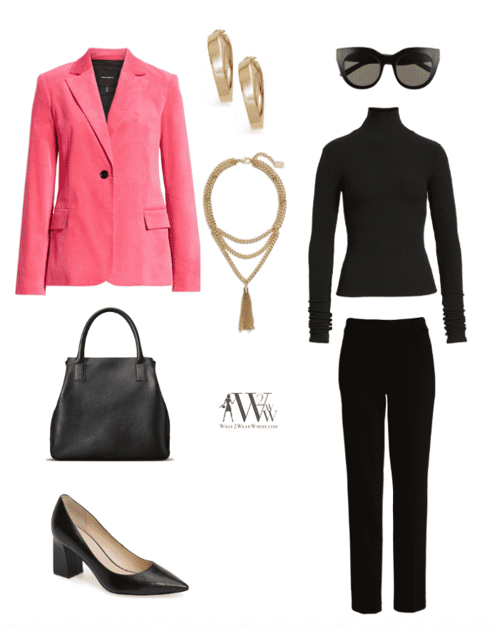 top: Robert Rodriguez Velveteen Jacket $595 / 7 For All Mankind Turtleneck Tee $99 bottom: Liverpool Kelsey Knit Trousers $89 accessories: Argento Vivo Gold Twisted Flat Edge Hoop Earrings/ Karine Sultan Layered Y-Necklace $98/ Le Specs Air Heart Sunglasses $695 / Shinola Runwell Pebbled Leather Tote $595 shoes: Marc Fisher Ltd. Zala Pump $15
