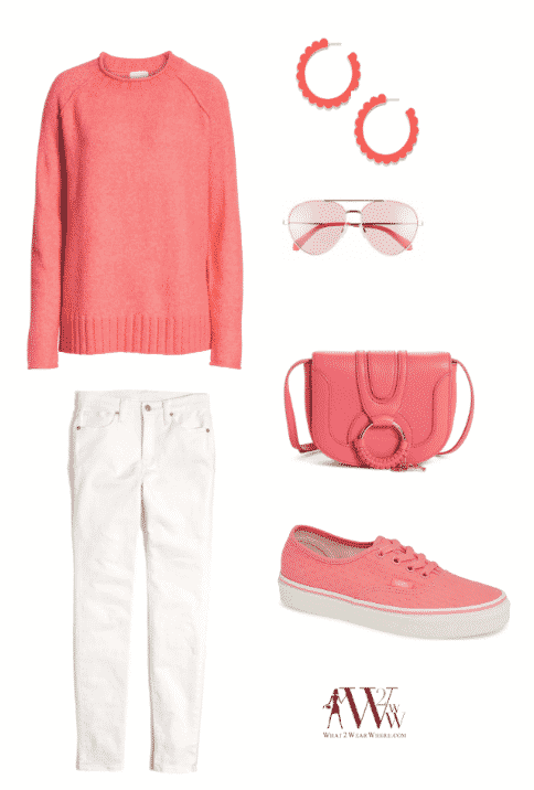 top: Caslon Cozy Crewneck Sweater $59 bottom: Madewell High Waist Skinny Jeans $128 accessories: BaubleBar Scallop Hoop Earrings $36 / Cutler And Gross Polarized Navigator Sunglasses $430 / See By Chloé Mini Hana Leather Crossbody Bag $295 shoes: Vans Authentic Sneaker $59