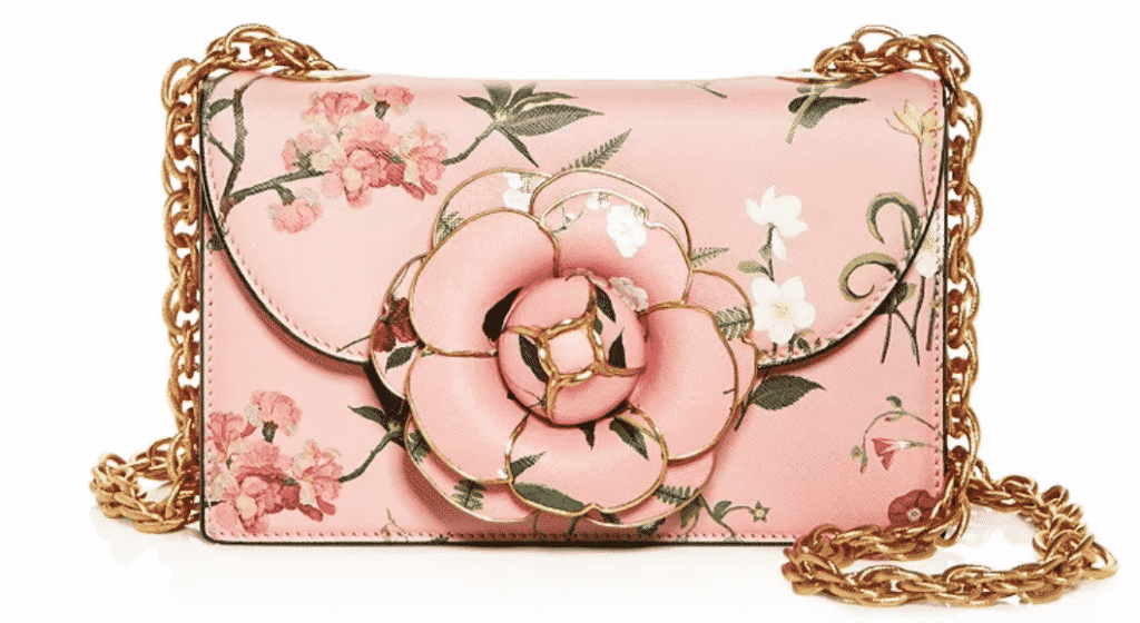 Oscar De La Renta Tro Floral Leather Crossbody