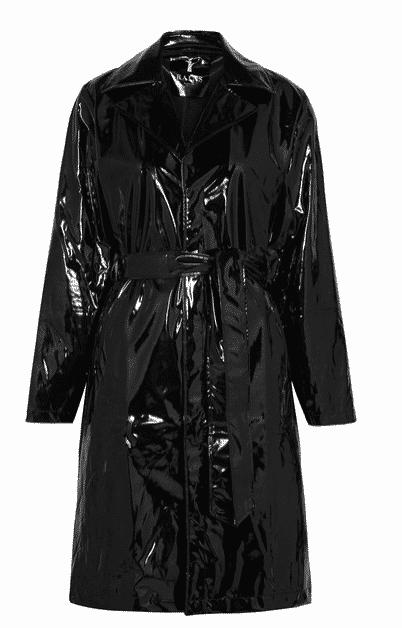 Rain glossed black trench coat