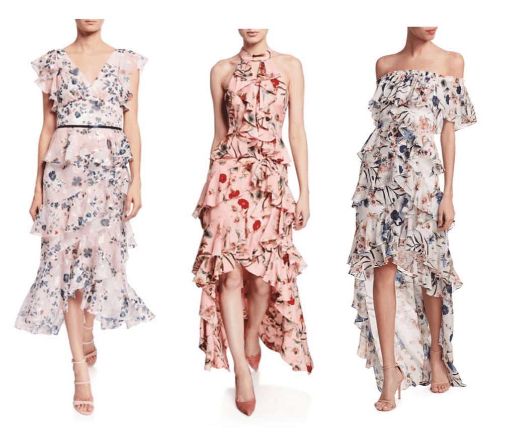 Marchesa Notte Floral Print Burnout Chiffon V-Neck Flutter- sleeve Ruffle  Badgley Mischka Collection Floral-Print High-Low Tiered Ruffle Halter  Badgley Mischka Off-The Shoulder Balladia Floral Ruffle