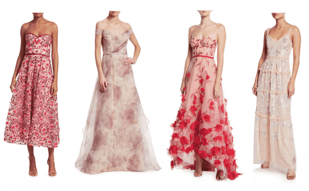 Marchesa Notte  Strapless Sweetheart Embroidered Floral Tulle   Rene Ruiz Floral Organza Off-The Shoulder  $1695  Marchesa Notte Strapless 3D Floral Embroidered High-Low  Needle & Thread Floral Gloss Sequined Tulle V-Neck  $539