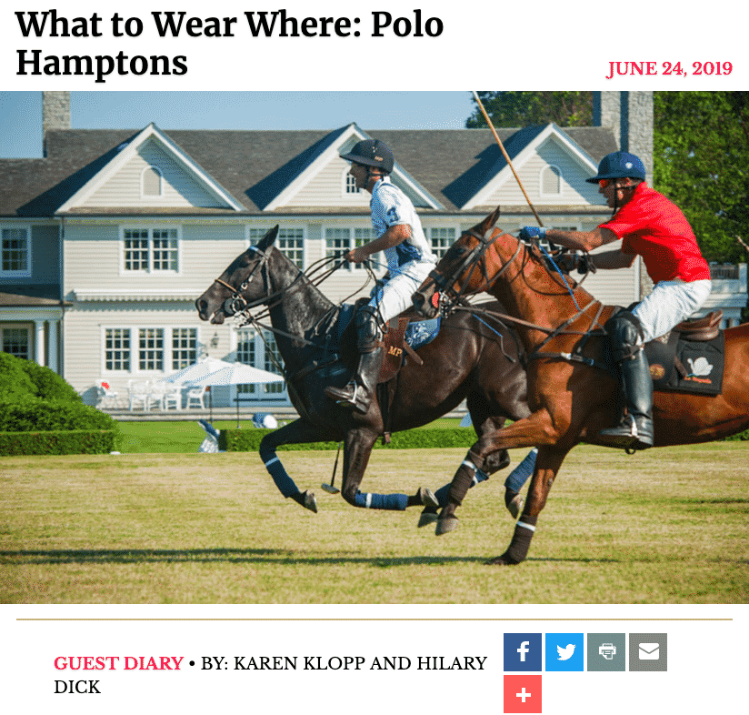 New York Social Diary Polo Hamptons, Christie Brinkley, what to wear polo match