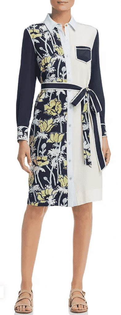 what to wear to new york city restaurant week  Tory Burch silk patchwork shirt dress