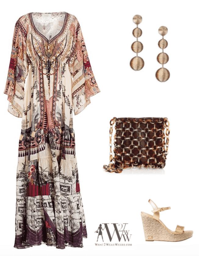 what to wear destination wedding beach.  Chiffon  dress, statement earrings, wedge sandals