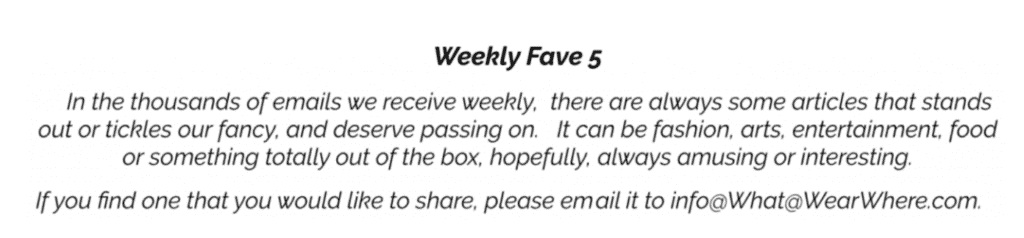 Weekly Fave Five.  The articles that caught our attention this week.