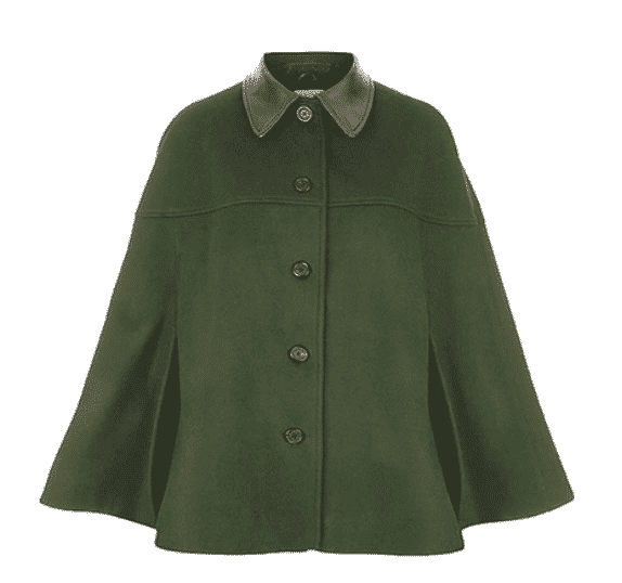 TROY London Rosie van cutsem.  Loden Green Cape.   What to wear town and country.