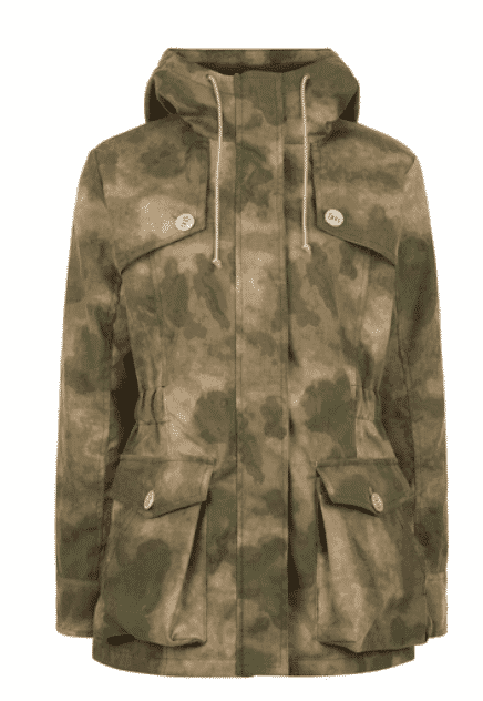 TROY London by Rosie Van Cutsem.   Camouflage jacket.    what to wear town and country.
