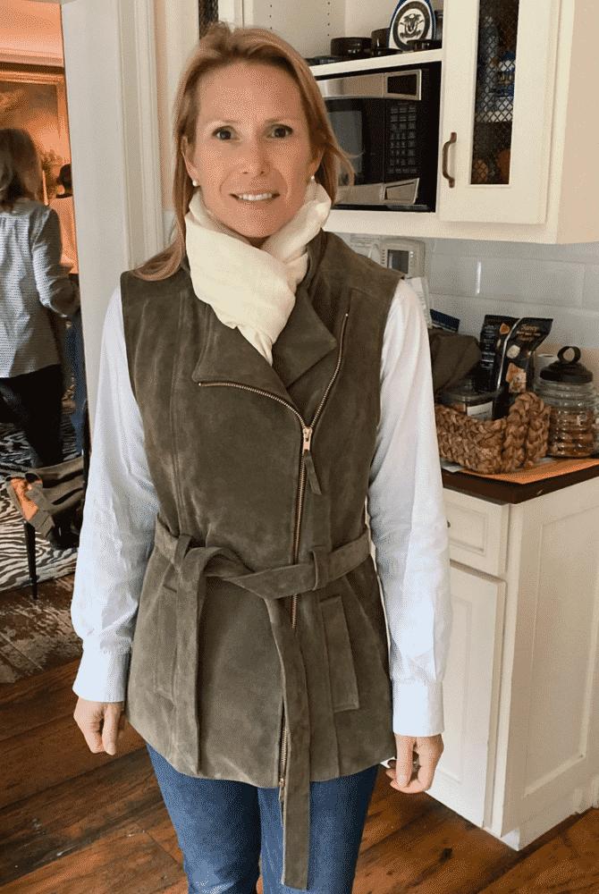 Robbianne Malkin wearing Rosie Van Cutsem Troy London Gilet.
