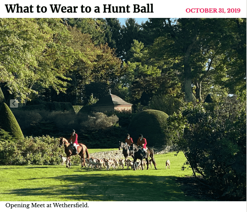 New York Social Diary.  Hilary Dick,  Karen Klopp, fashion advice  for What to Wear to a Hunt Ball